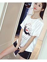Для женщин Повседневные Лето Как у футболки Брюки Костюмы Круглый вырез,На каждый день С принтом Контрастных цветов С короткими рукавами