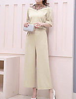 Women's Casual/Daily Casual Summer T-shirt Pant Suits,Solid Round Neck 1/2 Length Sleeve