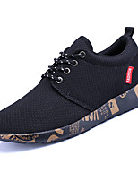 Men's Sneakers Comfort Light Soles PU Spring Fall Athletic Lace-up Flat Heel White Black/Gold Black/White Flat