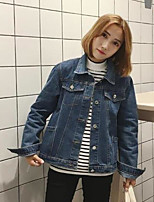 Women's Daily Modern/Comtemporary Fall Denim Jacket,Solid Square Neck Long Sleeve Regular Others