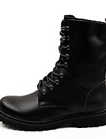 Men's Boots Comfort Combat Boots Cowhide Fall Winter Casual Lace-up Flat Heel Black Brown Flat