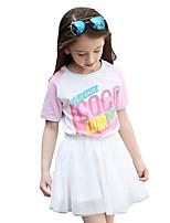Girls' Solid Color Patchwork Tee,Cotton Summer Short Sleeve Regular