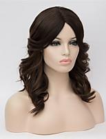 Perruques naturelles Synthétique Sans bonnet Perruques Court Moyen Auburn foncé Cheveux