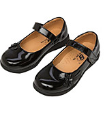 Girls' Flats Comfort Spring Fall Patent Leather Walking Shoes Casual Magic Tape Low Heel White Black Flat