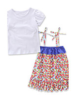 Girls' Fashion Braces skirt Flower Sets Cotton Summer Short Sleeve T-shirt Baby Clothing skirt Set