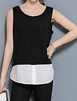Women's Casual Going out Casual/Daily Work Sexy Simple Punk & Gothic Summer Blouse,Solid Round Neck Sleeveless Others