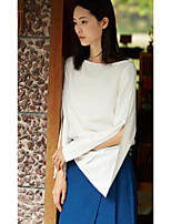 Damen Solide Einfach Alltag Normal Bluse,Rundhalsausschnitt Langarm Polyester