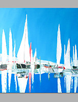 IARTS® Hand Painted Modern Abstract Blue Sea & Sailing Boats Oil Painting On Canvas with Stretched Frame Wall Art For Home Decoration Ready To Hang