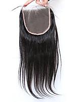 Cierre recto de seda del cordón de la tapa del pelo humano del cierre del cordón 5x5inch del cordón con el pelo del bebé