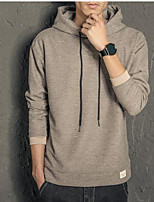 Men's Casual/Daily Simple Hoodie Solid Hooded Micro-elastic Polyester Others Long Sleeve Spring