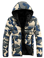Men's Padded Coat,Street chic Daily Geometric-Polyester Polypropylene Long Sleeve