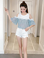 Women's Going out Street chic Blouse,Striped Color Block Round Neck Half Sleeve Others