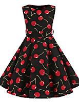 Vestido Chica de Floral Algodón Sin Mangas Todas las Temporadas