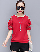 Women's Plus Size Going out Casual/Daily Street chic Summer Blouse,Solid Round Neck Short Sleeve Polyester Spandex Thin