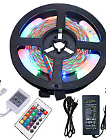 Hkv® 5m imperméable à l'eau 3528 300led rgb strip flexible light 24key ir télécommande 5a alimentation ca 100-240v