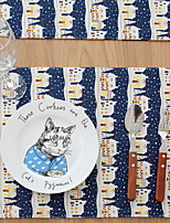 European-style Blue Castle Square Cotton And Linen Table Placemat 32*45cm