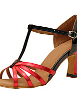 Women's Latin Silk Sandals Performance Buckle Stiletto Heel Red/Black 3