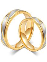 Casal Anéis de Casal Estilo simples Elegant Aço Titânio Forma Redonda Jóias Para Casamento Festa Noivado Diário Cerimônia