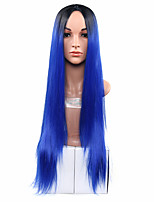 Ombre Synthetic Wig Heat Resistance Hair Wigs For Female black to two tones ombre Blue Hair Wig
