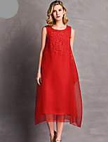 Feminino Evasê balanço Vestido,Casual Sólido Bordado Decote Redondo Médio Sem Manga Seda Primavera Verão Cintura Média Micro-Elástica