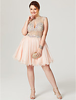 Princess Jewel Neck Short / Mini Chiffon Tulle Cocktail Party Dress with Beading