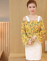 Women's Casual/Daily Casual Summer T-shirt Skirt Suits,Floral Bateau Long Sleeve