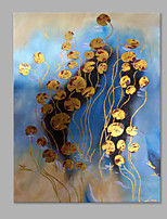IARTS® Hand Painted Modern Abstract Golden Duckweed in River with Stretched Frame Handmade Oil Painting For Home Decoration Ready To Hang