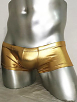 Mens Boxer Underwears Mens Sexy Low Waist Leather Boxers