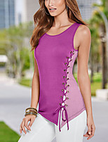 Women's Going out Beach Holiday Sexy Simple Street chic Criss-Cross Lace Up All Match Grace Spring Summer Tank TopColor Block Round Neck Sleeveless