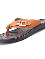 Men's Sandals Light Soles PU Spring Summer Casual Light Soles Buckle Flat Heel Dark Brown Light Brown Under 1in