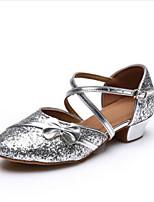 Women's Latin Paillette Glitter Flats Heels Practice Ruby Silver Gold