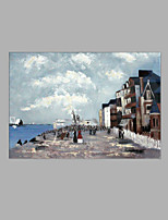 IARTS® Modern Abstract Oil Painting European Port Harbour Town Scenery Picture with Stretched Frame Handmade Oil Painting For Home Decoration