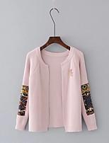 Standard Cardigan Da donna-Per uscire Casual Semplice Con stampe Rotonda Manica lunga Acrilico Primavera Autunno Sottile Medio spessore