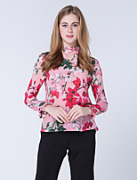 Damen Druck Niedlich Street Schick Chinoiserie Arbeit Hemd,Stehkragen Frühling Herbst Langarm Andere Mittel