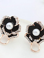 Stud Earrings Women's Girls' Euramerican Black Fashion Flower Rhinestone PearlC Clip Earrings Party And Dailys Movie And Gift Jewelry