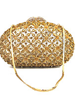 Women Gold Rhinestone Crystal Clutch  Hand Bag with Chain Evening Party Dinner Event Occasion