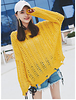Women's Daily Simple Long Pullover,Solid Round Neck Long Sleeve Faux Fur Spring Medium Micro-elastic