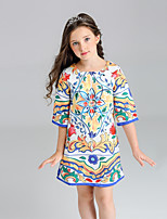 Girl's Print Dress,Cotton Polyester Summer Short Sleeve