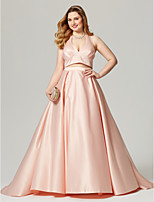 A-Line Halter Sweep / Brush Train Satin Formal Evening Dress with Pleats by TS Couture®