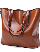 Women Tote PU All Seasons Casual Outdoor Round Zipper Wine Brown Black