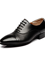 Для мужчин Латина Натуральная кожа На каблуках Профессиональный стиль Черный