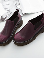 Women's Boots Comfort Spring PU Casual Brown Burgundy 1in-1 3/4in