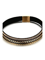 Women's Choker Necklaces Rhinestone Circle Round Geometric PU Leather Alloy Basic Circular Unique Design Rhinestones Hip-Hop Rock