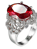 Ring Women's Euramerican Luxury Elegant Oval Red Rhinestone Zircon Ring Daily Party Gift Movie Jewelry