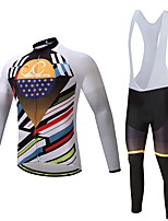 CYCEARTH Cycling Winter Thermal Fleece Jersey Bib Pants Set Long Sleeve Bike Clothing Suits Bicycle Sport Warm Clothes Gel Pad