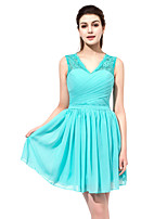Sheath / Column V-neck Short / Mini Chiffon Honeymoon Dress with Draping