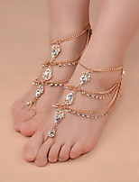 Women's Gypsy Style Fashion Water Drops Zircon Handmade Gold Chain Single Anklet Summer Beach Jewelry For Casual Leisure Sports