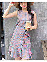 Women's Daily Casual Simple Summer Tank Top Skirt Suits,Solid Round Neck Sleeveless