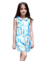 Girl's Geometic Dress,Cotton Summer Sleeveless