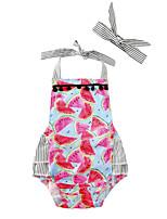 Baby Stripe Print One-PiecesCotton Blends Summer Sleeveless Watermelon Hanging Neck Girls Romper Bodysuits with Headband